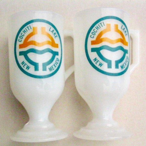 VTG Milk Glass Pedestal Mugs Cochiti Lake New Mex